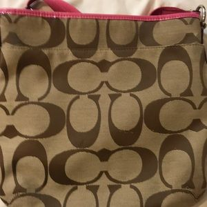 Pink and brown coach body cross bag